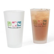Peace, Love, Bassets Drinking Glass
