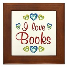 I Love Books Framed Tile