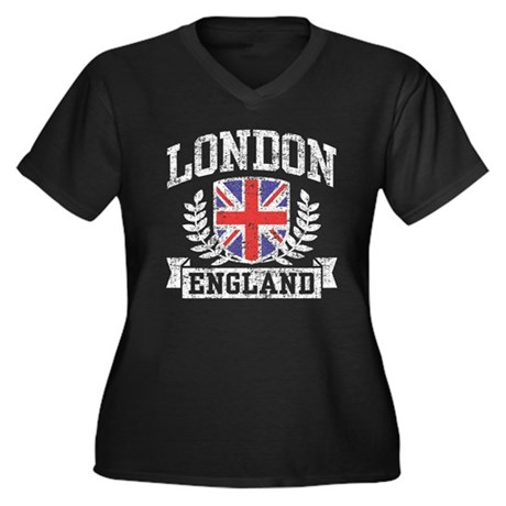 London England Women's Plus Size V-Neck Dark T-Shi