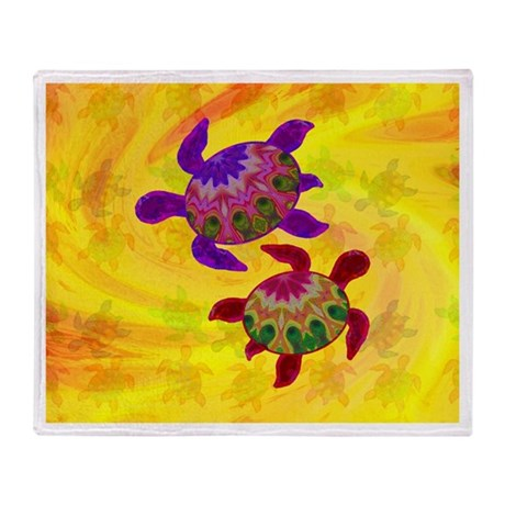 Painted Turtles Throw Blanket
