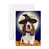 Basset Hound Halloween Greeting Card