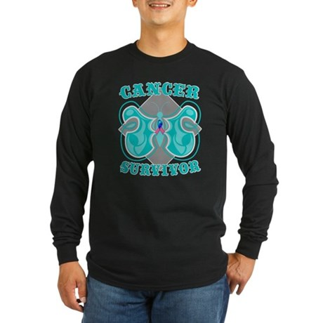 Thyroid Cancer Survivor Long Sleeve Dark T-Shirt