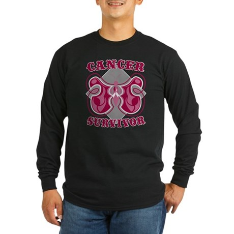 Throat Cancer Survivor Long Sleeve Dark T-Shirt