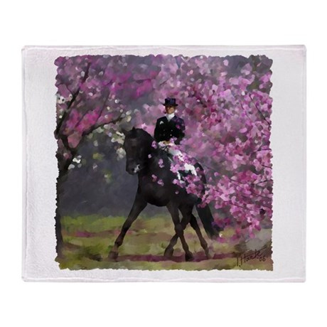 Spring Half Pass Dressage Throw Blanket