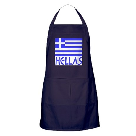 Dark blue apron with Flag of Greece adn the word