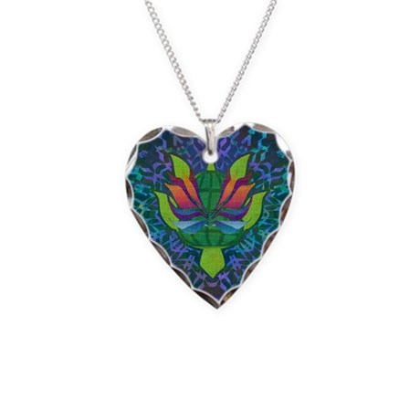 Flying Turtle Necklace Heart Charm