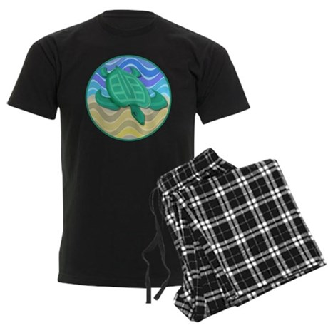 Turtle On Beach Men's Dark Pajamas