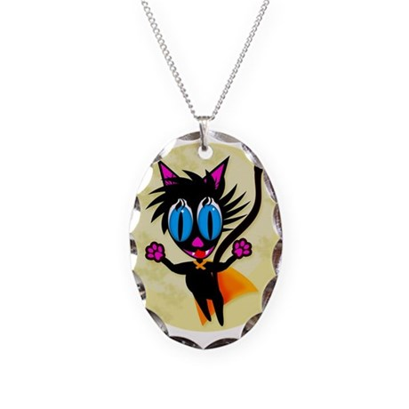 Black Cat...Away! Necklace Oval Charm