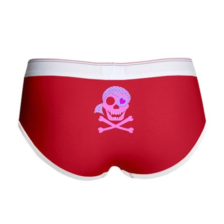 Pink Pirate Skull Women's Boy Brief