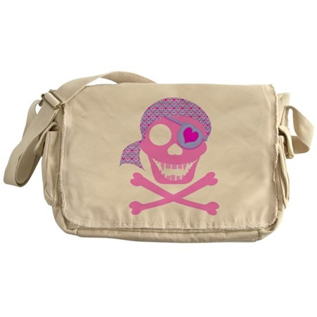 Pink Pirate Skull Messenger Bag