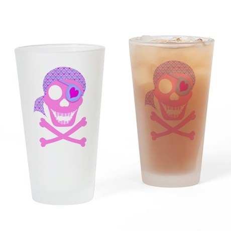 Pink Pirate Skull Drinking Glass