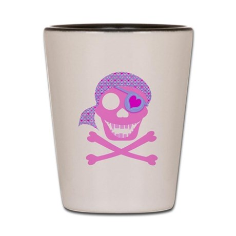 Pink Pirate Skull Shot Glass