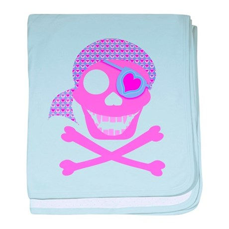 Pink Pirate Skull baby blanket