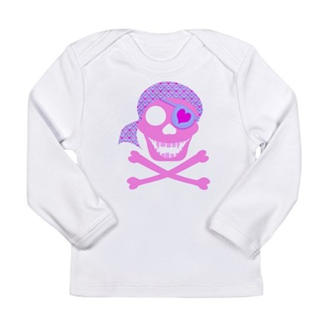 Pink Pirate Skull Long Sleeve Infant T-Shirt