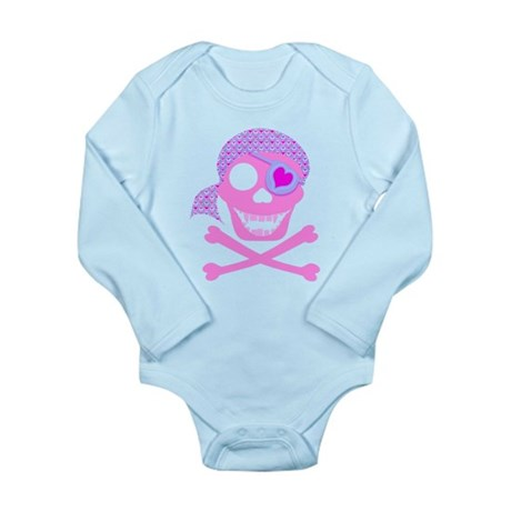 Pink Pirate Skull Long Sleeve Infant Bodysuit
