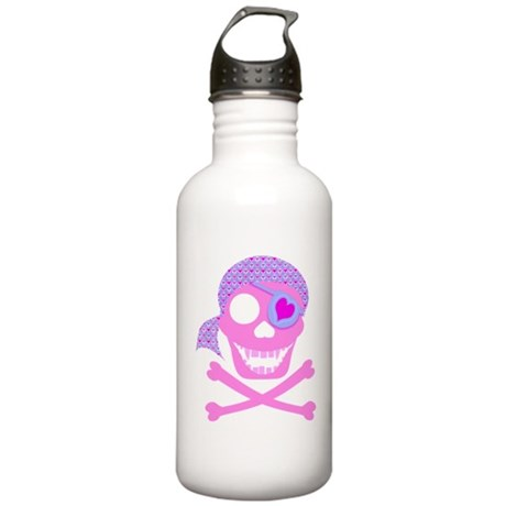 Pink Pirate Skull Stainless Water Bottle 1.0L