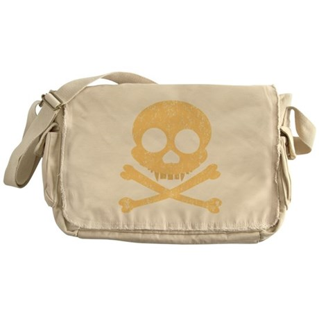 Distressed Orange Skull Messenger Bag