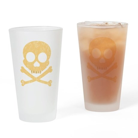 Distressed Orange Skull Drinking Glass