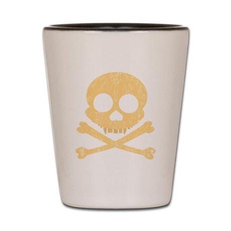 Distressed Orange Skull Shot Glass