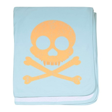 Distressed Orange Skull baby blanket