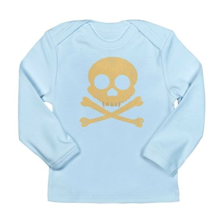 Distressed Orange Skull Long Sleeve Infant T-Shirt