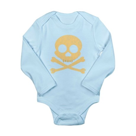 Distressed Orange Skull Long Sleeve Infant Bodysui