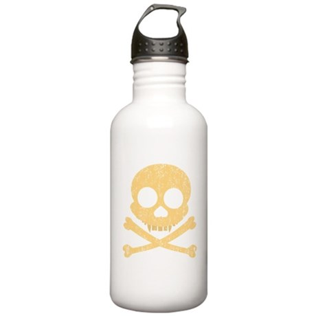 Distressed Orange Skull Stainless Water Bottle 1.0