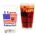 Heart America Flag Drinking Glass