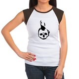Black Flaming Skull on White Tee-Shirt