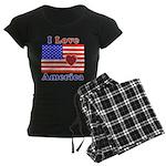 Heart America Flag Women's Dark Pajamas