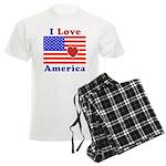 Heart America Flag Men's Light Pajamas