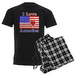 Heart America Flag Men's Dark Pajamas