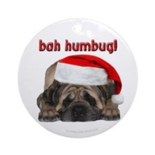 Fawn Mastiff Bah Humbug Christmas Ornament