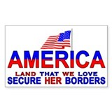 Borders Secure Our Borders Rectangle Decal