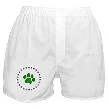 Green Paw Print Boxer Shorts