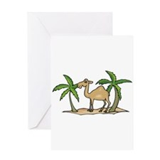 Cute Camel and Palm Trees Des Greeting Card