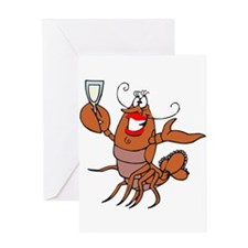 Girl Toasting Wine Lobster Greeting Card