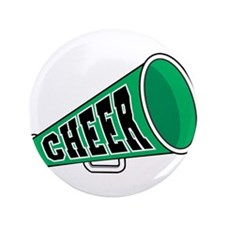 "Green Cheer Megaphone 3.5"" Button (100 pack)"