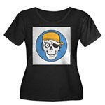 Colored Pirate Skull Women's Plus Size Scoop Neck