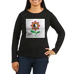 Retro Yin Yang Flower Women's Long Sleeve Dark T-S