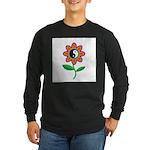 Retro Yin Yang Flower Long Sleeve Dark T-Shirt