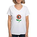 Retro Yin Yang Flower Women's V-Neck T-Shirt