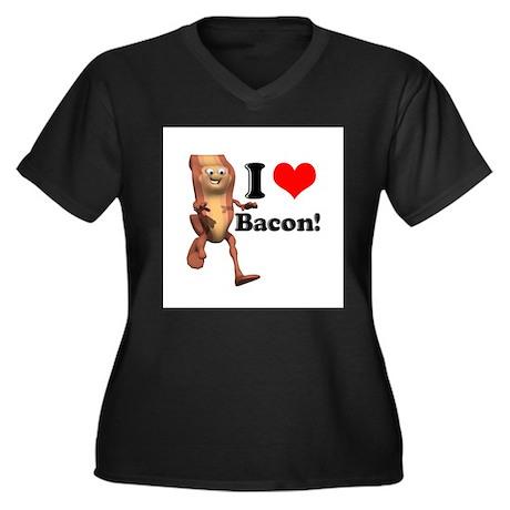 I Heart (Love) Bacon Women's Plus Size V-Neck Dark