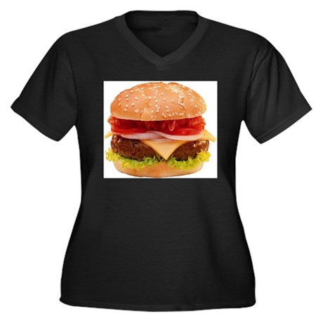 yummy cheeseburger photo Women's Plus Size V-Neck