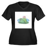 Frogs in Love Women's Plus Size V-Neck Dark T-Shir
