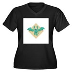 Gargoyle Bat Women's Plus Size V-Neck Dark T-Shirt
