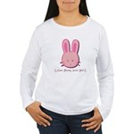 Breast Cancer Bunny Women's Long Sleeve T-Shirt