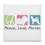 Peace, Love, Porties Tile Coaster