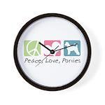 Peace, Love, Porties Wall Clock