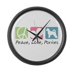 Peace, Love, Porties Large Wall Clock